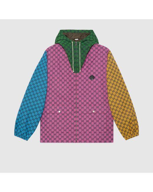 メンズ Gucci 【公式】 (グッチ)GG マルチカラー キャンバス フーデッド ジャケットマルチカラーピンク Multicolor