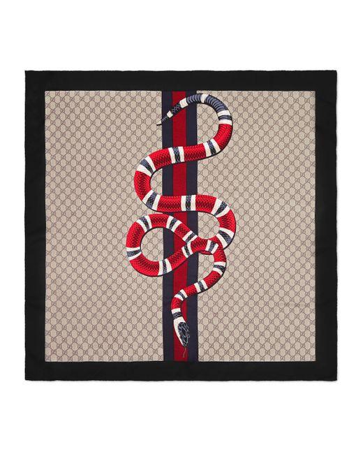 Écharpe en soie GG avec imprimé Web et serpent Gucci pour homme en coloris Natural