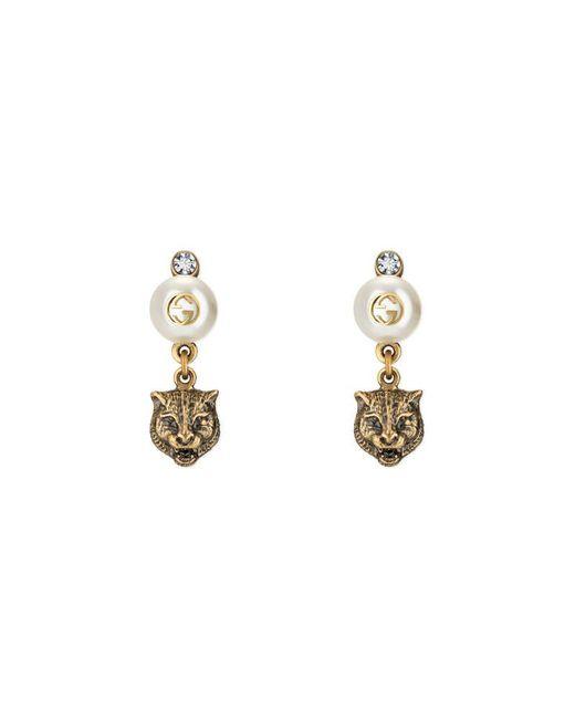 Gucci - Metallic Feline Earrings With Resin Pearls - Lyst