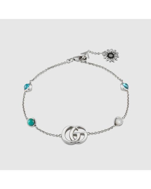 Gucci Metallic Doppel G und Blumen Armband