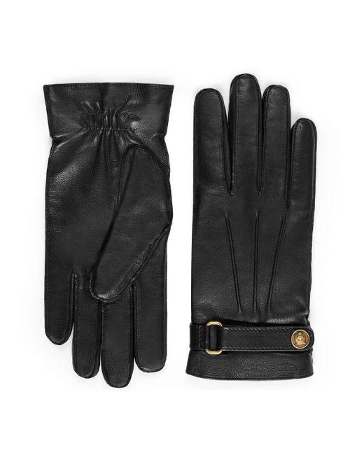 Gants en cuir Gucci pour homme en coloris Black