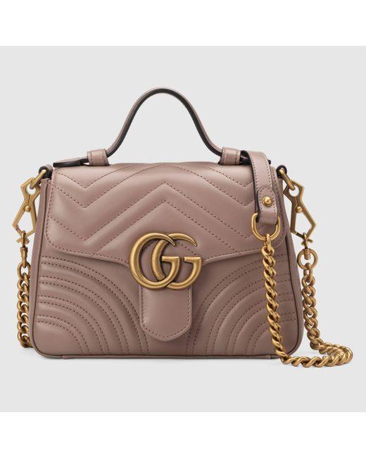 Gucci グッチ〔GGマーモント〕ミニ トップハンドルバッグ Pink