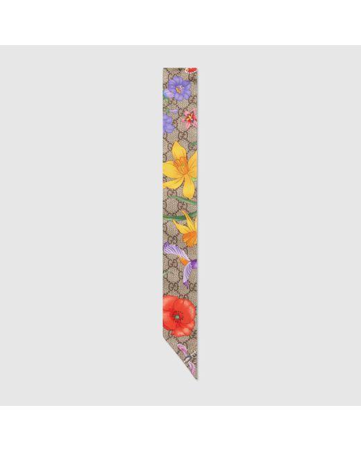 Gucci Natural GG Halsschleife aus Seide mit Flora-Print