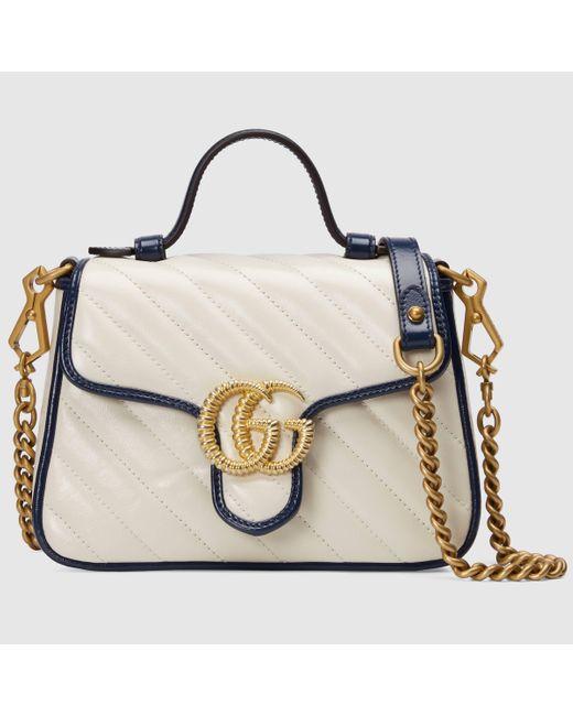 Gucci 【公式】 (グッチ)〔GGマーモント〕ミニ トップハンドルバッグホワイト レザー ホワイト Multicolor