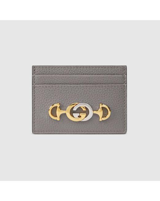 Gucci 【公式】 (グッチ)〔グッチ ズゥミ〕オンライン限定 グレインレザー カードケースダスティグレー グレインレザーグレー Gray