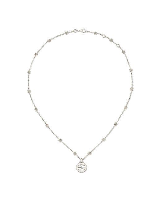 Gucci Metallic Interlocking G Necklace In Silver