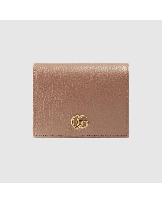 Gucci グッチ〔プチ マーモント〕 レザー カードケース(コイン&紙幣入れ付き) Brown
