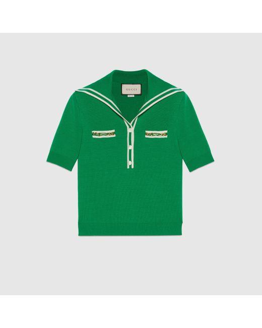 Gucci グッチコントラスト トリム付き ウール ポロシャツ Green