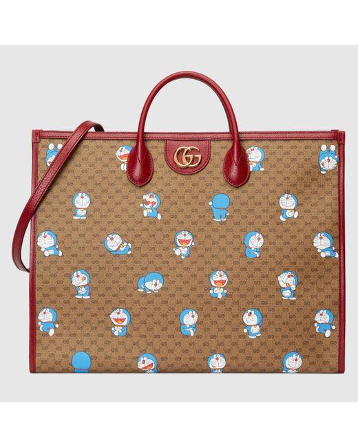 Gucci 【公式】 (グッチ)ドラえもん X トートバッグ Detail 2ブラック&エボニー ミニGGキャンバスベージュ Multicolor