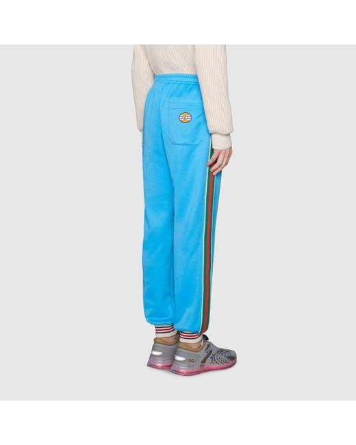 メンズ Gucci グッチウェブ付き テクニカルジャージー ジョギングパンツ Blue