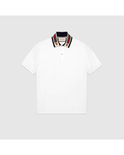 メンズ Gucci グッチウェブ&タイガーヘッド コットン ポロシャツ White
