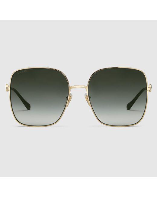 Gucci 【公式】 (グッチ)スクエアフレーム サングラスゴールド メタル&グレーゴールド Metallic