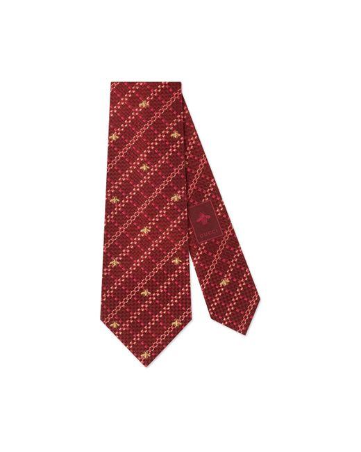 Cravate en soie à carreaux motif abeille Gucci pour homme en coloris Red