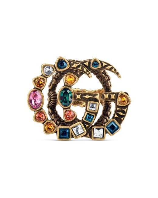 Gucci - Metallic Crystal Double G Ring - Lyst