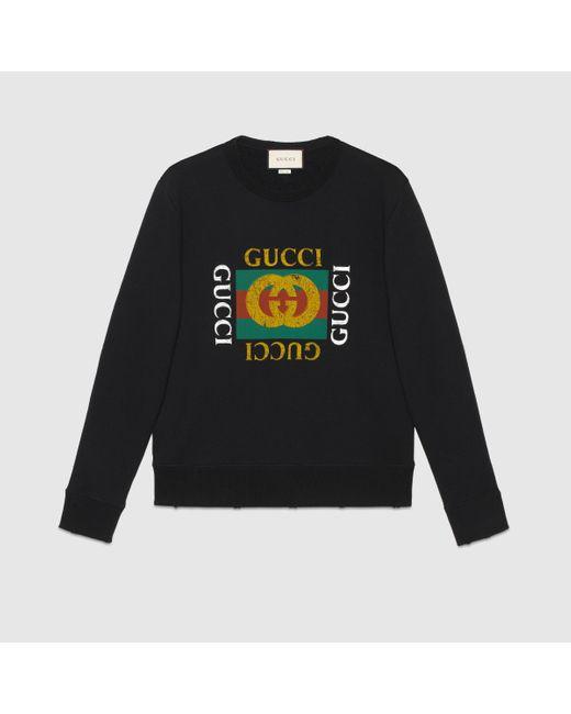 メンズ Gucci 【公式】 (グッチ)グッチ ロゴ コットン スウェットシャツブラック コットンジャージーブラック Black