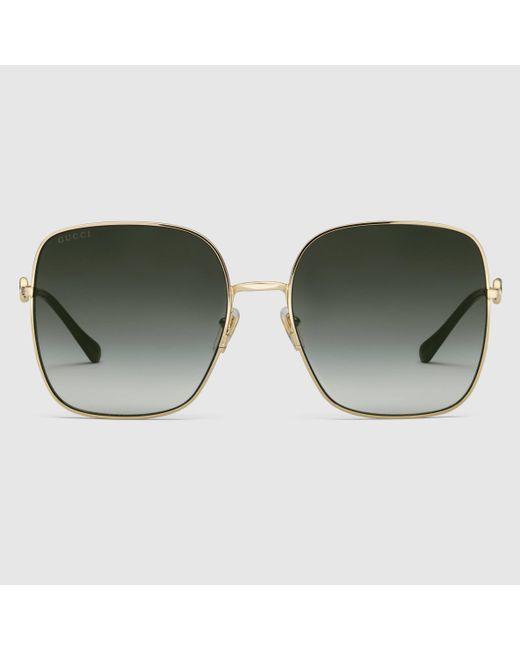 Gucci 【公式】 (グッチ)スクエアフレーム サングラスゴールド メタル&グレーゴールド Multicolor