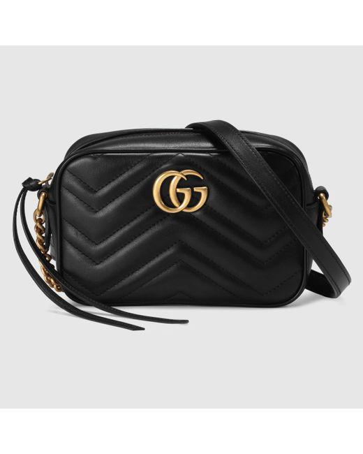 Gucci 【公式】 (グッチ)〔GGマーモント〕 キルティング ミニバッグブラックレザーブラック Black