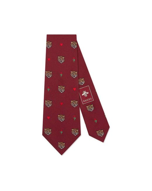 Gucci - Red Tigers Pattern Silk Tie for Men - Lyst
