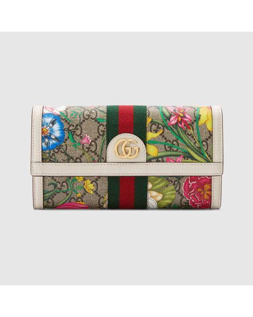 Gucci 〔オフィディア〕GGフローラ コンチネンタルウォレット Natural
