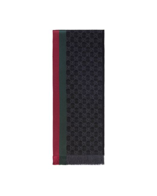 Gucci Gray Gg Jacquard Knit Scarf With Web And Fringe for men