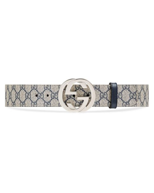Gucci Blue GG Supreme Belt With G Buckle for men