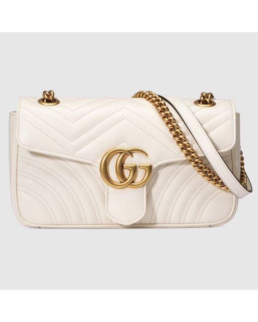Gucci 【公式】 (グッチ)〔GGマーモント〕キルティング スモール ショルダーバッグホワイト レザーホワイト White