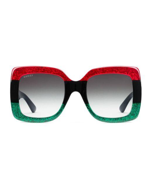 599fc73815 Gucci - Green Square-frame Acetate Sunglasses - Lyst ...