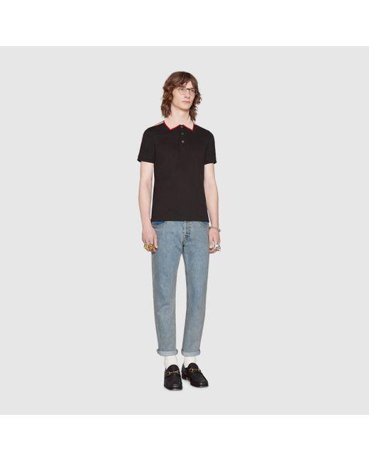 メンズ Gucci グッチグッチ ストライプ コットン ポロシャツ Black
