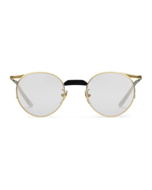 c94bd482d6f Gucci - Multicolor Round-frame Metal Glasses for Men - Lyst ...