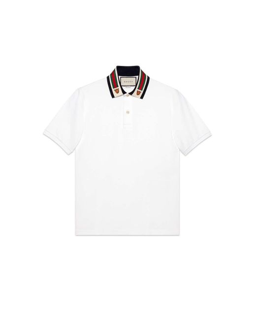 b9d1e06bc Gucci - White Cotton Polo With Web And Feline Head for Men - Lyst ...