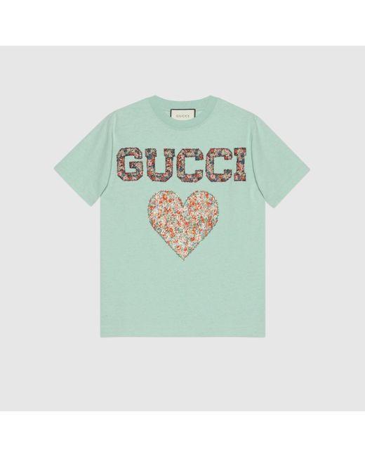 Gucci Blue T Shirt mit Patches und Liberty Print