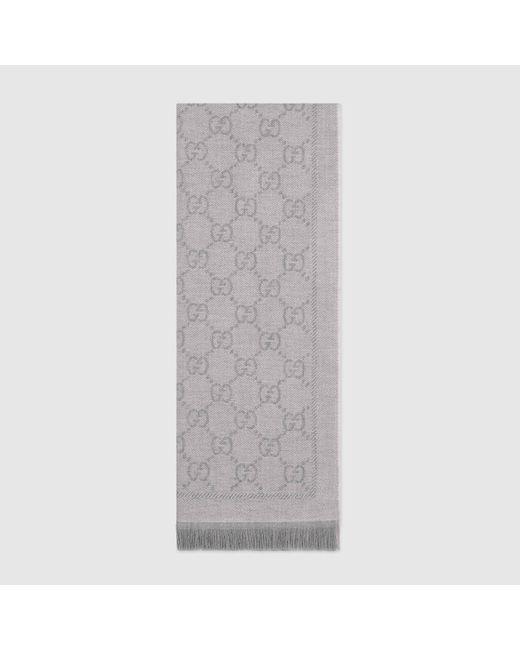 Gucci 【公式】 (グッチ)GGパターンウィンタースカーフシルバーウールグレー Gray
