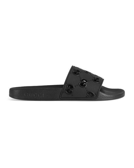 Gucci Black Rubber GG Slide Sandal