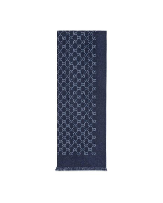 Écharpe en jacquard de laine GG Gucci pour homme en coloris Blue