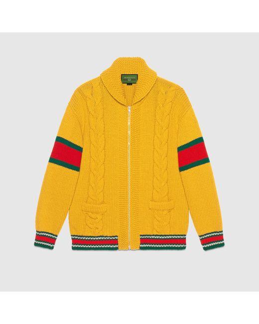 メンズ Gucci グッチdiy ユニセックス ウール ボンバージャケット Yellow