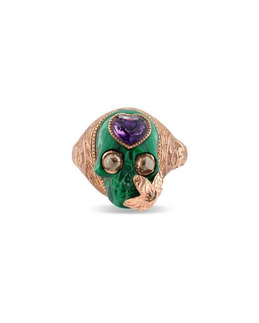 Gucci | Metallic Skull Ring With Heart In Gold | Lyst