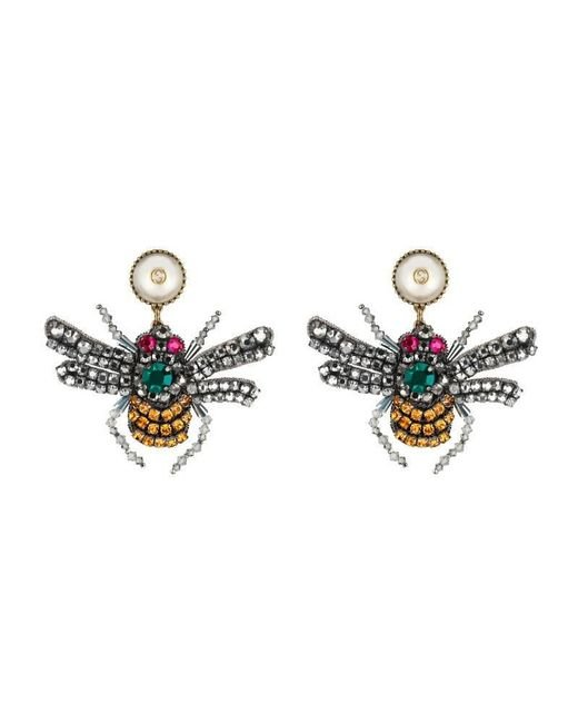 Gucci - Metallic Crystal Embroidered Bee Earrings - Lyst