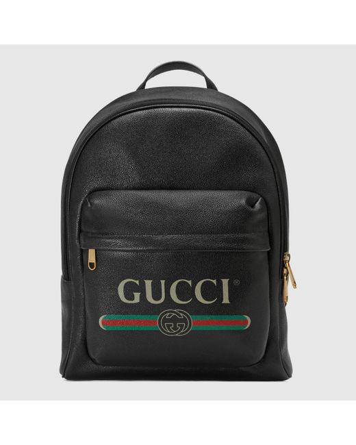 メンズ Gucci グッチ プリント レザー バックパック Black