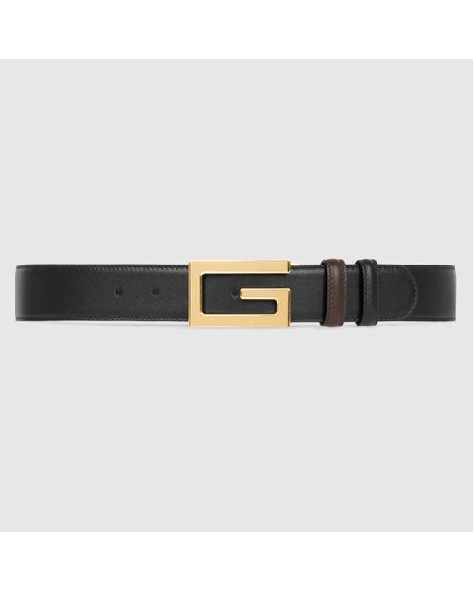 メンズ Gucci 【公式】 (グッチ)リバーシブル ベルト(スクエアg バックル)ブラック/ブラウン レザーブラック Multicolor