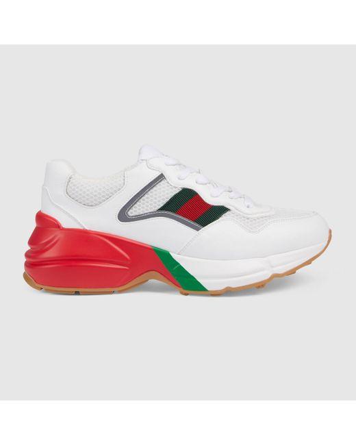 Gucci 【公式】 (グッチ)〔ライトン〕ウィメンズ スニーカーホワイトレザーエフェクト ファブリックホワイト Multicolor
