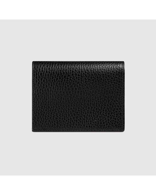 Gucci グッチ〔プチ マーモント〕 レザー カードケース(コイン&紙幣入れ付き) Black