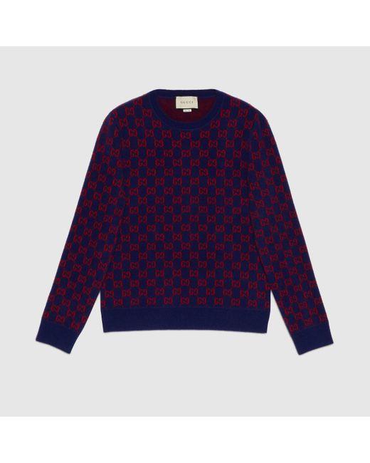 メンズ Gucci 【公式】 (グッチ)GGウール セーターダークブルー/レッド GGウールブルー Purple