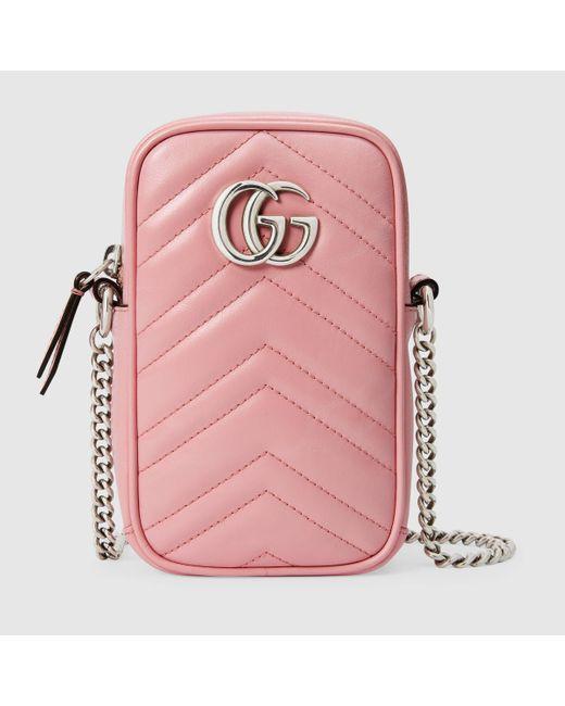 Gucci 【公式】 (グッチ)〔GGマーモント〕ミニバッグパステルピンク レザーピンク Pink