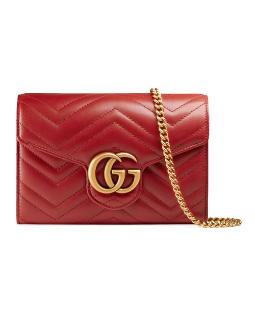 11fbd7435f0 Gucci GG Marmont Matelassé Mini Bag in Red - Save 10% - Lyst
