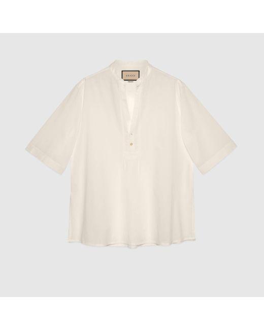 メンズ Gucci 【公式】 (グッチ)コットン チュニックシャツホワイトホワイト Multicolor