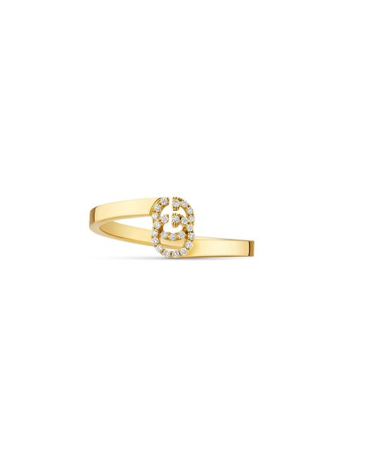 Gucci - Metallic Gg Running Ring In Yellow Gold With Diamonds - Lyst