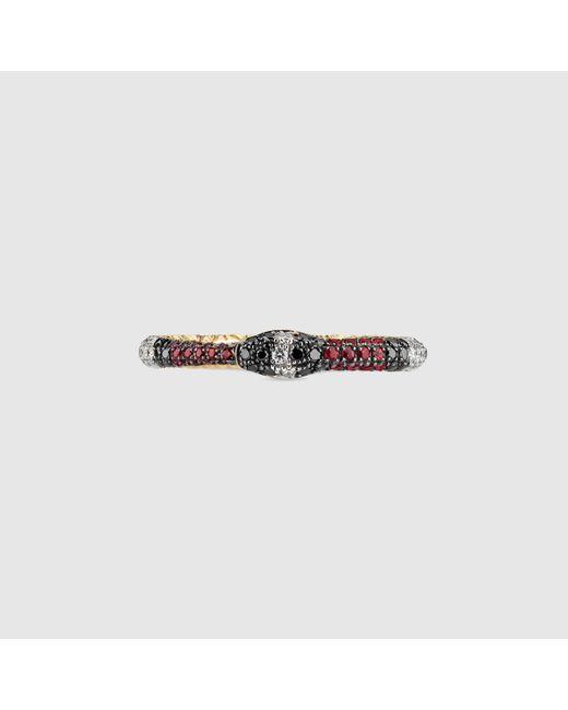 Gucci グッチ公式ジェムストーン付き ウロボロス ゴールド リング18k イエローゴールドcolor_descriptionダイヤモンド Metallic