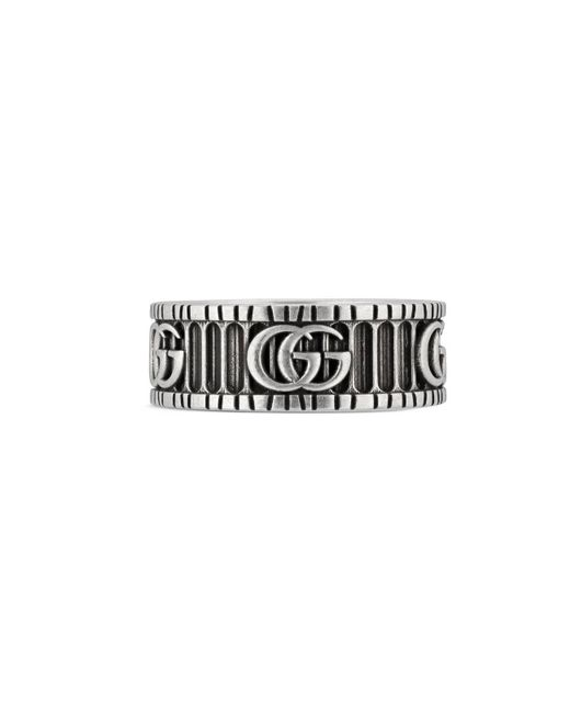 Gucci Metallic Silver Double G Ring for men