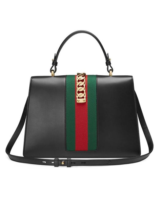 beed1455038 ... Gucci - Black Sylvie Leather Top Handle Bag - Lyst ...
