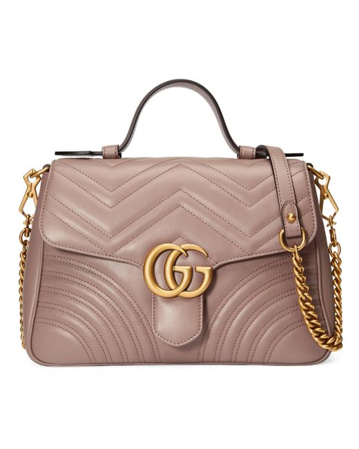 cfa60b81a Gucci - Natural GG Marmont Small Top Handle Bag - Lyst ...